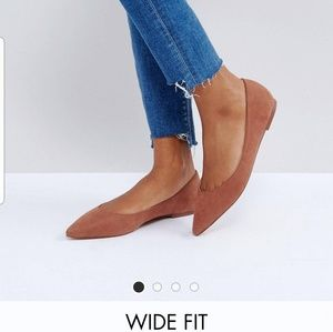ASOS Mocha Pointed Ballet Flats - Wide Fit